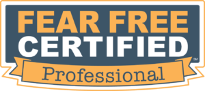 "Fear Free Certified, Where veterinary healthcare professionals ""take the pet out of petrified"""